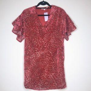 Karlie | Velvet Cheetah Print Ruffle Sleeve Dress